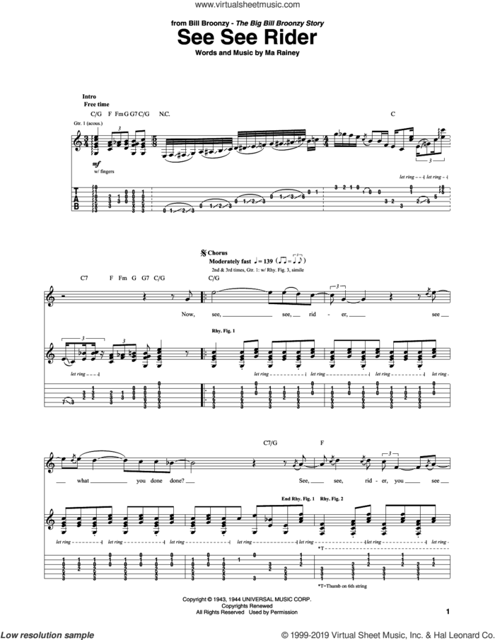 See See Rider sheet music for guitar (tablature) by Big Bill Broonzy and Ma Rainey, intermediate skill level