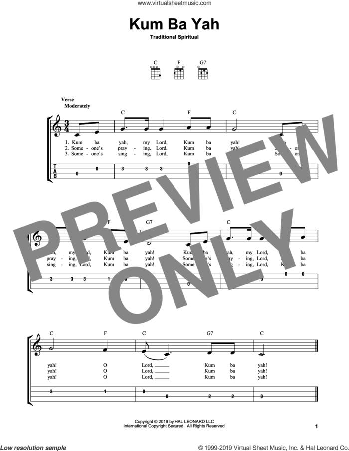 Kum Ba Yah sheet music for ukulele (easy tablature) (ukulele easy tab), intermediate skill level