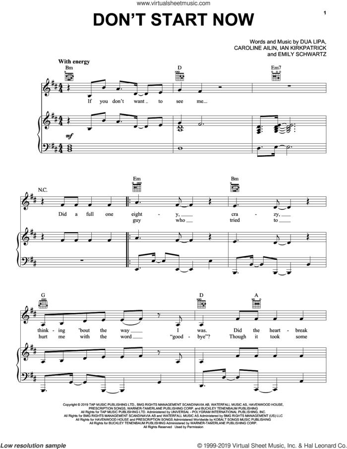 Don't Start Now sheet music for voice, piano or guitar by Dua Lipa, Caroline Ailin, Emily Warren Schwartz and Ian Kirkpatrick, intermediate skill level