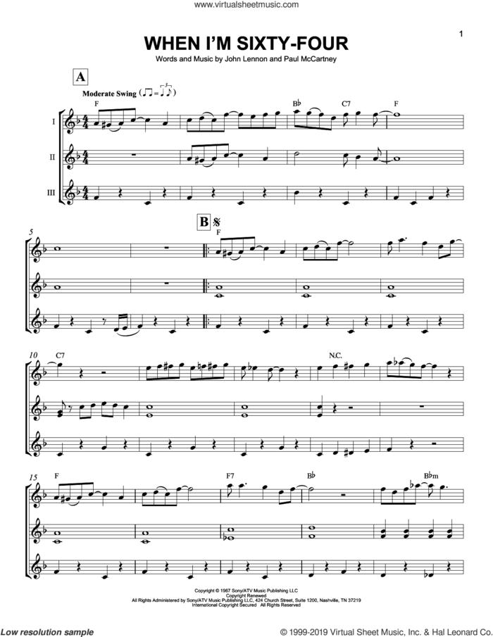 When I'm Sixty-Four sheet music for ukulele ensemble by The Beatles, John Lennon and Paul McCartney, intermediate skill level