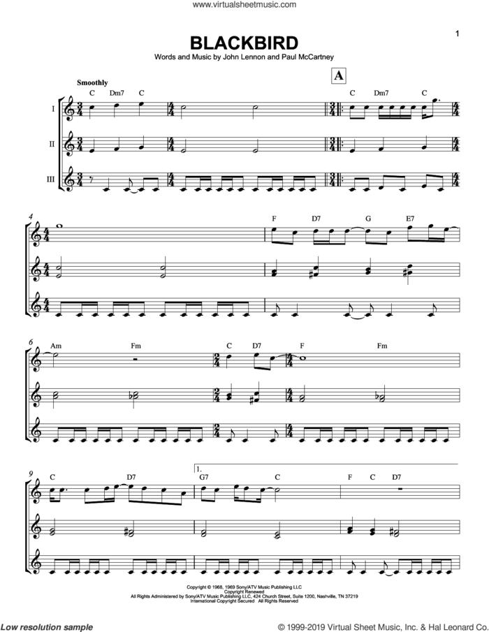 Blackbird sheet music for ukulele ensemble by The Beatles, John Lennon and Paul McCartney, intermediate skill level
