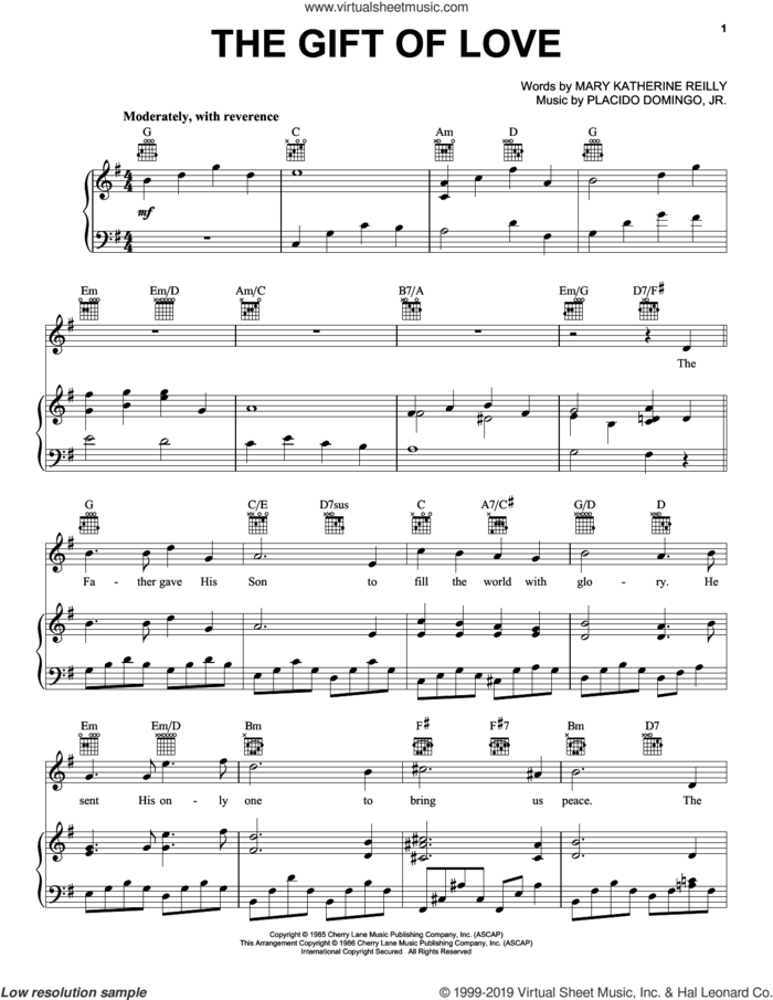 The Gift Of Love sheet music for voice, piano or guitar by Placido Domingo Jr. and Mary Katherine Reilly, intermediate skill level