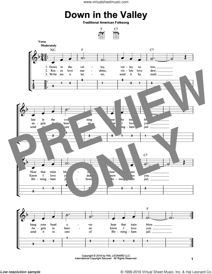 Down In The Valley sheet music for ukulele (easy tablature) (ukulele easy tab), intermediate skill level