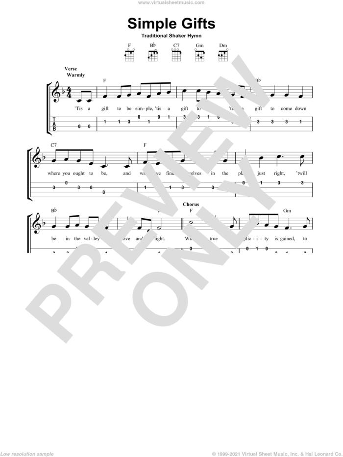 Simple Gifts sheet music for ukulele (easy tablature) (ukulele easy tab), intermediate skill level
