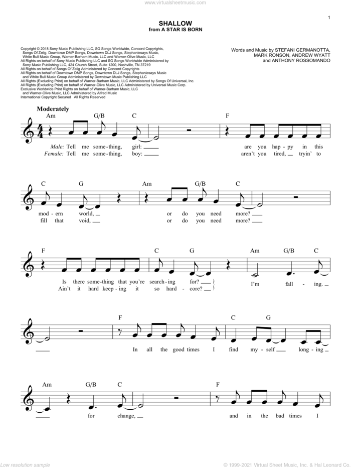 Shallow (from A Star Is Born) sheet music for voice and other instruments (fake book) by Lady Gaga & Bradley Cooper, Bradley Cooper, Andrew Wyatt, Anthony Rossomando, Lady Gaga and Mark Ronson, intermediate skill level