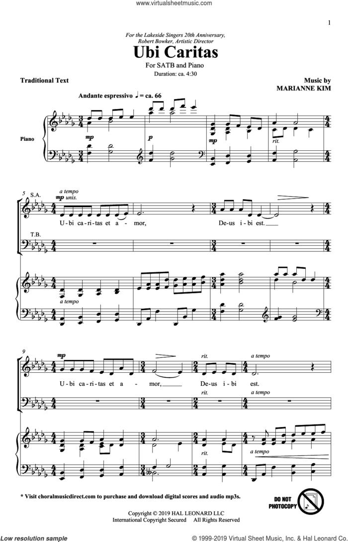 Ubi Caritas sheet music for choir (SATB: soprano, alto, tenor, bass) by Marianne Kim, intermediate skill level