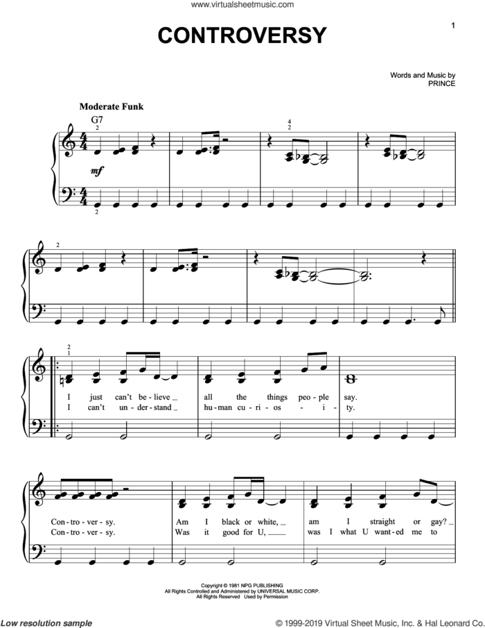 Controversy sheet music for piano solo by Prince, easy skill level