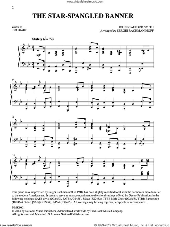 The Star-Spangled Banner (arr. Sergei Rachmaninoff) (ed. Tim Sharp) sheet music for piano solo by John Stafford Smith, Serjeij Rachmaninoff, Francis Scott Key, Francis Scott Key and John Stafford Smith and Tim Sharp, intermediate skill level