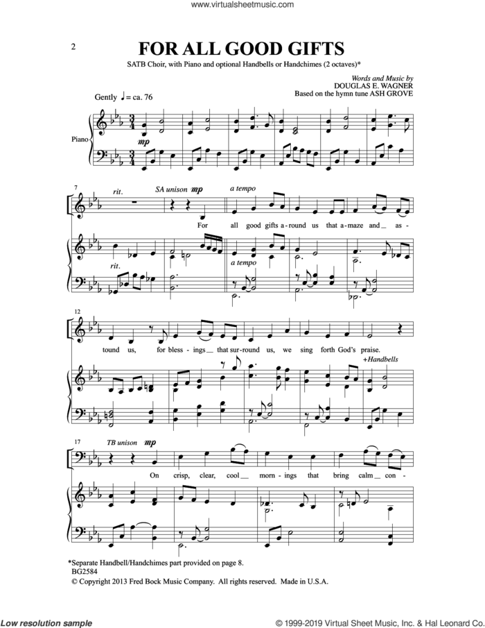 For All Good Gifts sheet music for choir (SATB: soprano, alto, tenor, bass) by Douglas E. Wagner, intermediate skill level