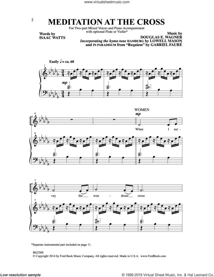 Meditation At The Cross sheet music for choir (2-Part) by Douglas E. Wagner, intermediate duet