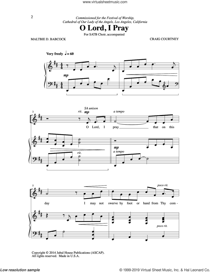 O Lord, I Pray sheet music for choir (SATB: soprano, alto, tenor, bass) by Craig Courtney and Maltie D. Babcock, intermediate skill level