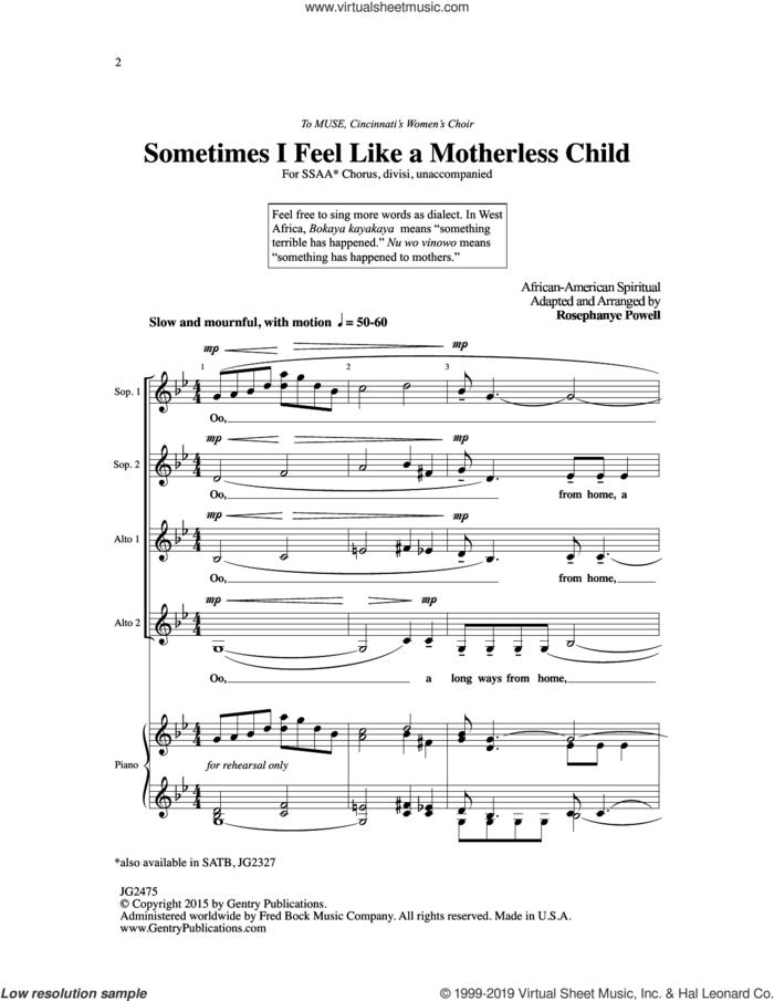 Sometimes I Feel Like A Motherless Child (arr. Rosephanye Powell) sheet music for choir (SSA: soprano, alto)  and Rosephanye Powell, intermediate skill level