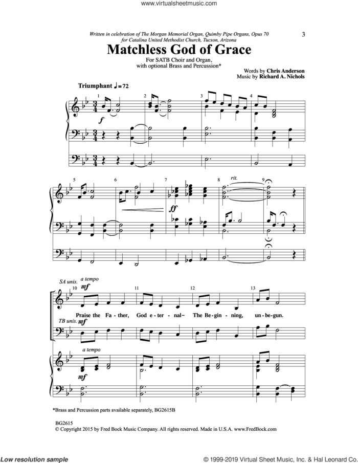Matchless God Of Grace sheet music for choir (SATB: soprano, alto, tenor, bass) by Richard Nichols and Chris Anderson, intermediate skill level