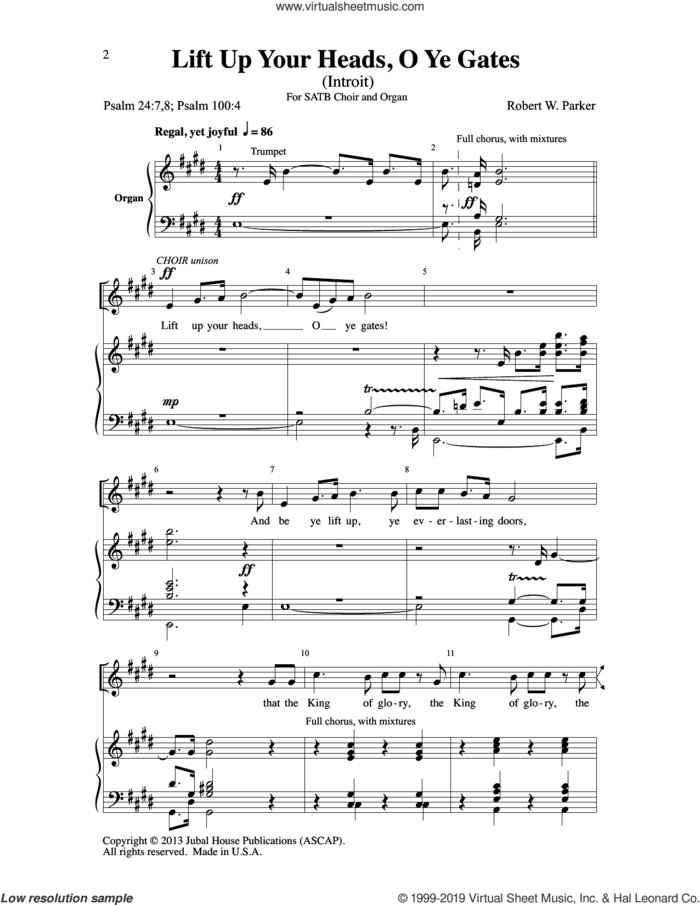 Lift Up Your Heads, O Ye Gates sheet music for choir (SATB: soprano, alto, tenor, bass) by Robert W. Parker and Psalms, intermediate skill level