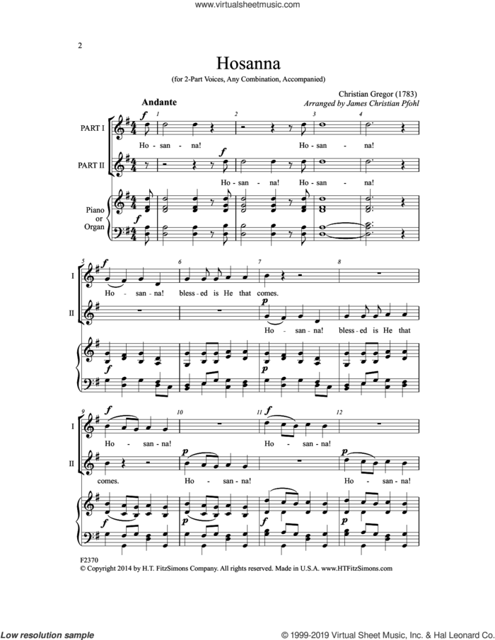Hosanna (arr. James Christian Pfohl) sheet music for choir (2-Part) by Christian Gregor and James Christian Pfohl, intermediate duet