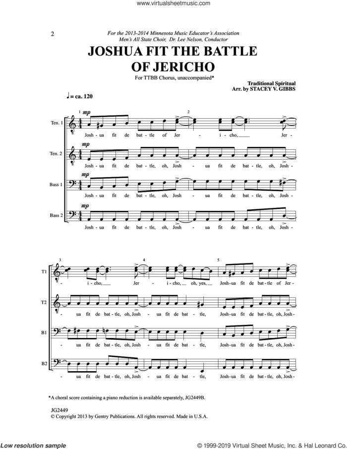 Joshua Fit The Battle Of Jericho (arr. Stacey V. Gibbs) sheet music for choir (TTBB: tenor, bass)  and Stacey V. Gibbs, intermediate skill level