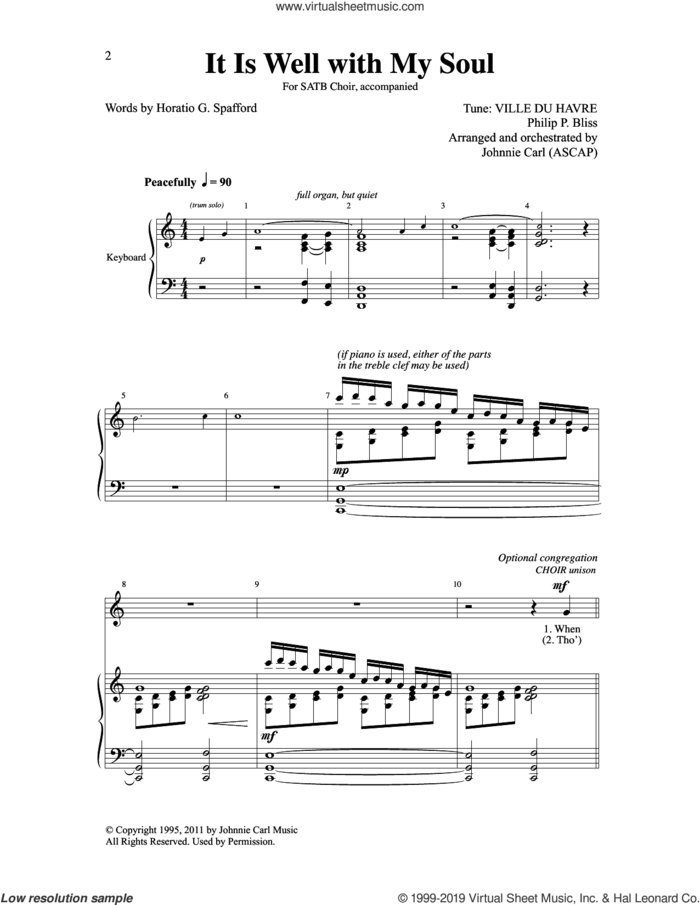 It Is Well With My Soul (arr. Johnnie Carl) sheet music for choir (SATB: soprano, alto, tenor, bass) by Philip P. Bliss and Johnnie Carl, intermediate skill level