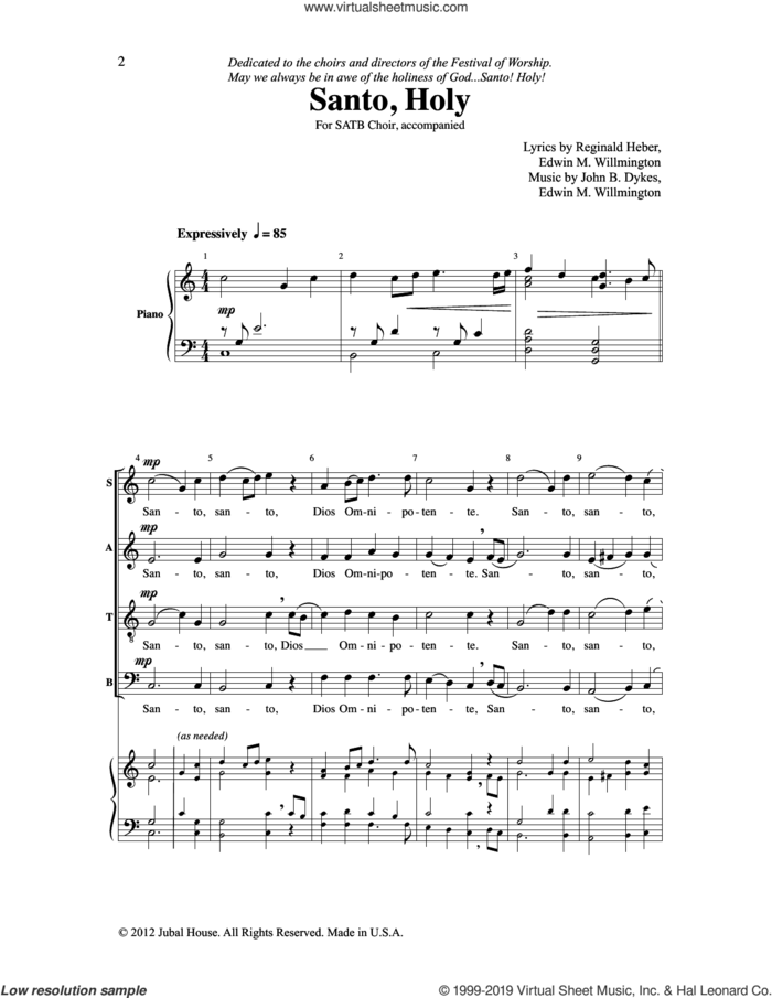 Santo, Holy sheet music for choir (SATB: soprano, alto, tenor, bass) by John Bacchus Dykes, Reginald Heber, Edwin M. Willmington and John B. Dykes & Edwin M. Willmington, intermediate skill level