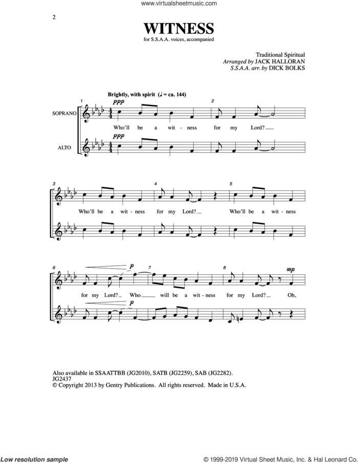 Witness (arr. Dick Bolks) sheet music for choir (SSA: soprano, alto) , Dick Bolks and Jack Halloran, intermediate skill level