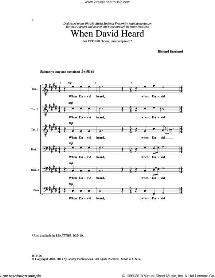 When David Heard sheet music for choir (TTBB: tenor, bass) by Richard Burchard, intermediate skill level