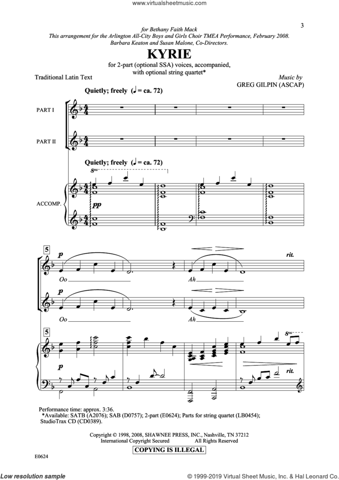 Kyrie sheet music for choir (2-Part) by Greg Gilpin and Miscellaneous, intermediate duet