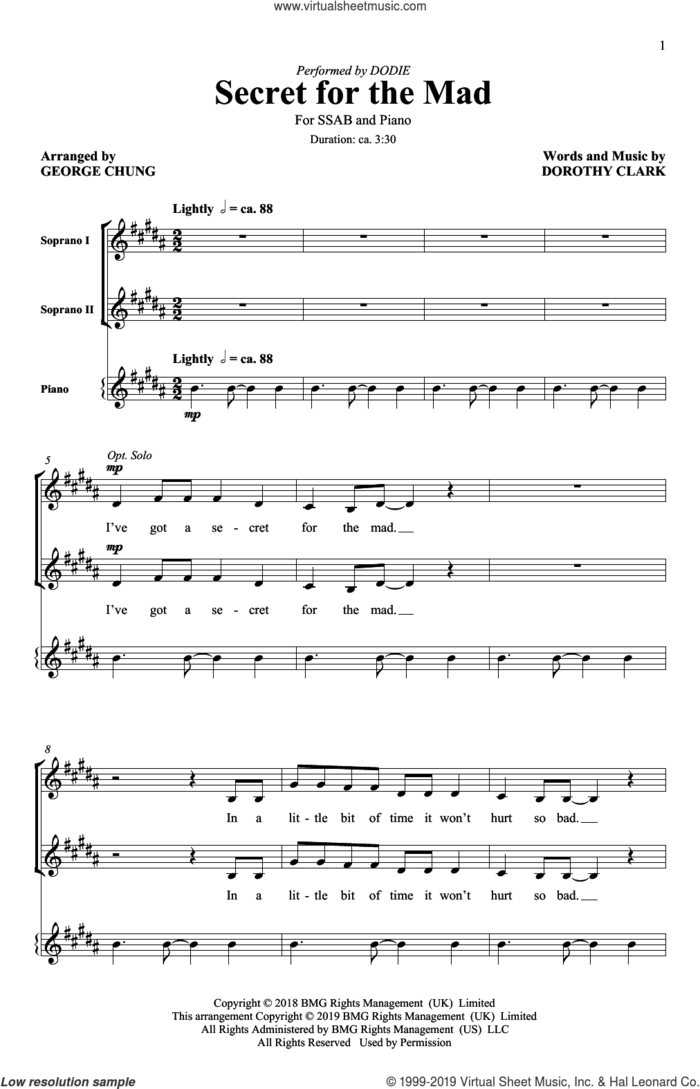 Secret For The Mad (arr. George Chung) sheet music for choir (SATB: soprano, alto, tenor, bass) by Dodie, George Chung and Dorothy Clark, intermediate skill level