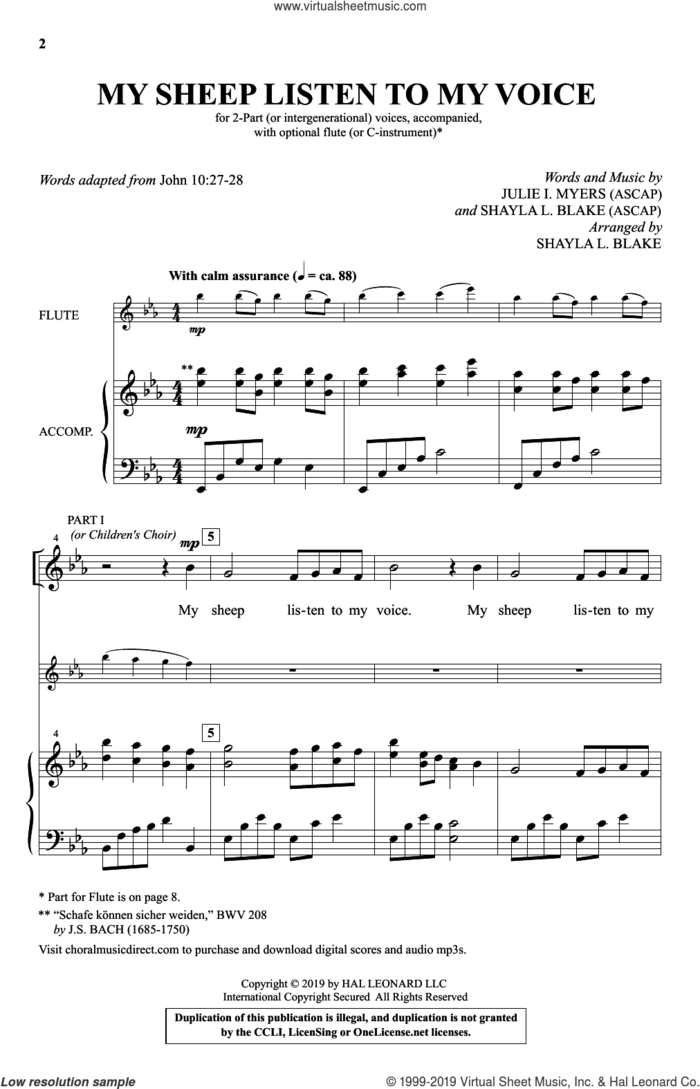 My Sheep Listen To My Voice (arr. Shayla L. Blake) sheet music for choir (2-Part) by Julie I. Myers, Julie I. Myers and Shayla L. Blake and Shayla L. Blake, intermediate duet