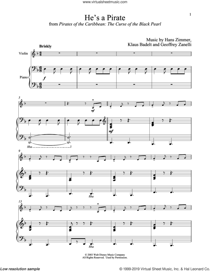 He's A Pirate (from Pirates Of The Caribbean: The Curse of the Black Pearl) sheet music for violin and piano by Hans Zimmer, Geoffrey Zanelli and Klaus Badelt, intermediate skill level