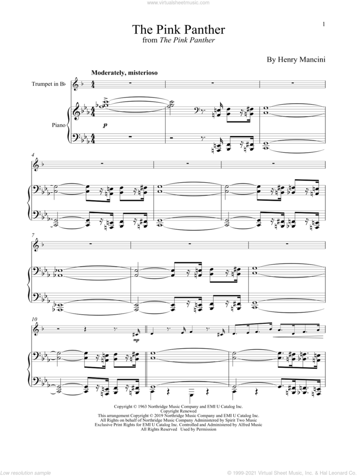 The Pink Panther sheet music for trumpet and piano by Henry Mancini, intermediate skill level