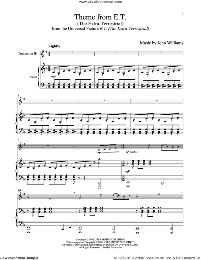 Theme From E.T. (The Extra-Terrestrial) sheet music for trumpet and piano by John Williams, intermediate skill level