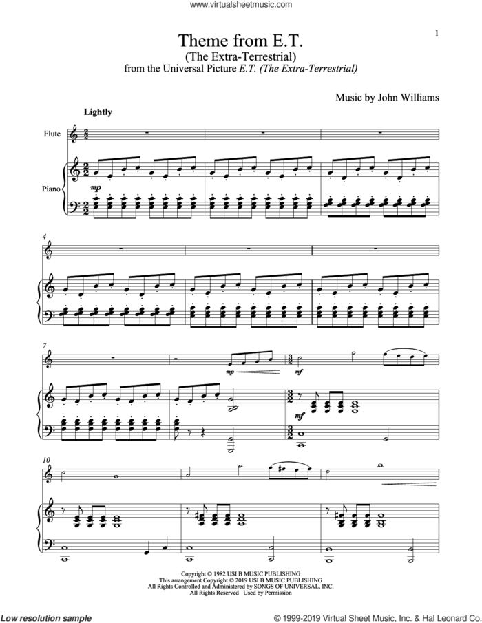 Theme From E.T. (The Extra-Terrestrial) sheet music for flute and piano by John Williams, intermediate skill level