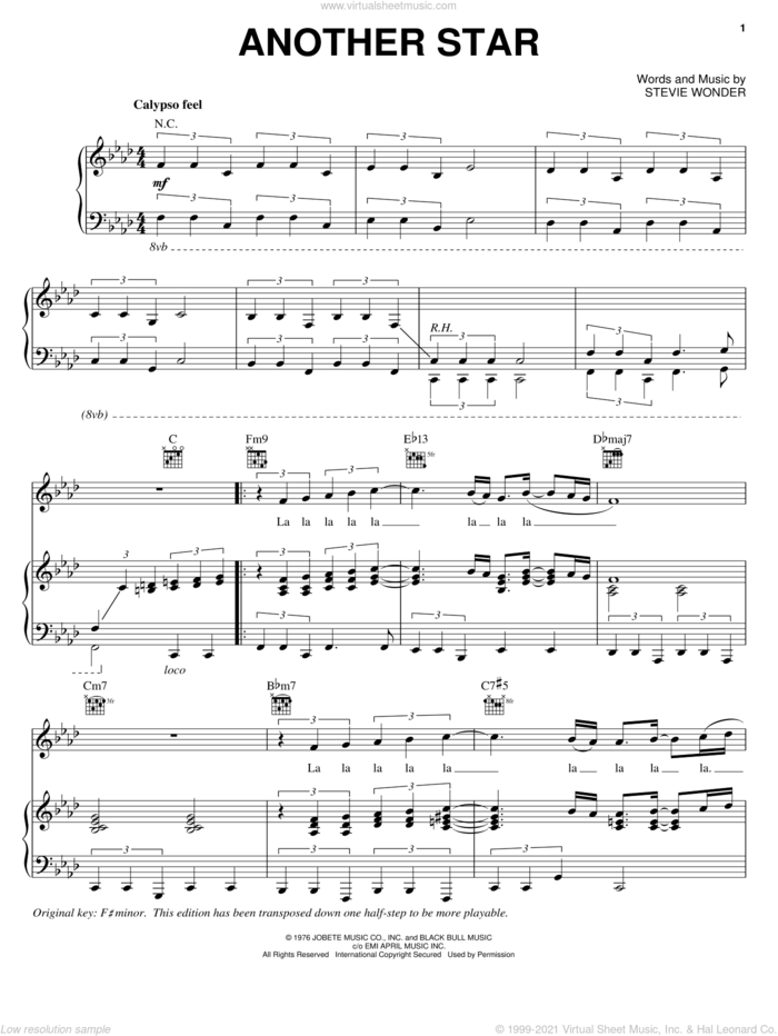 Another Star sheet music for voice, piano or guitar by Stevie Wonder, intermediate skill level