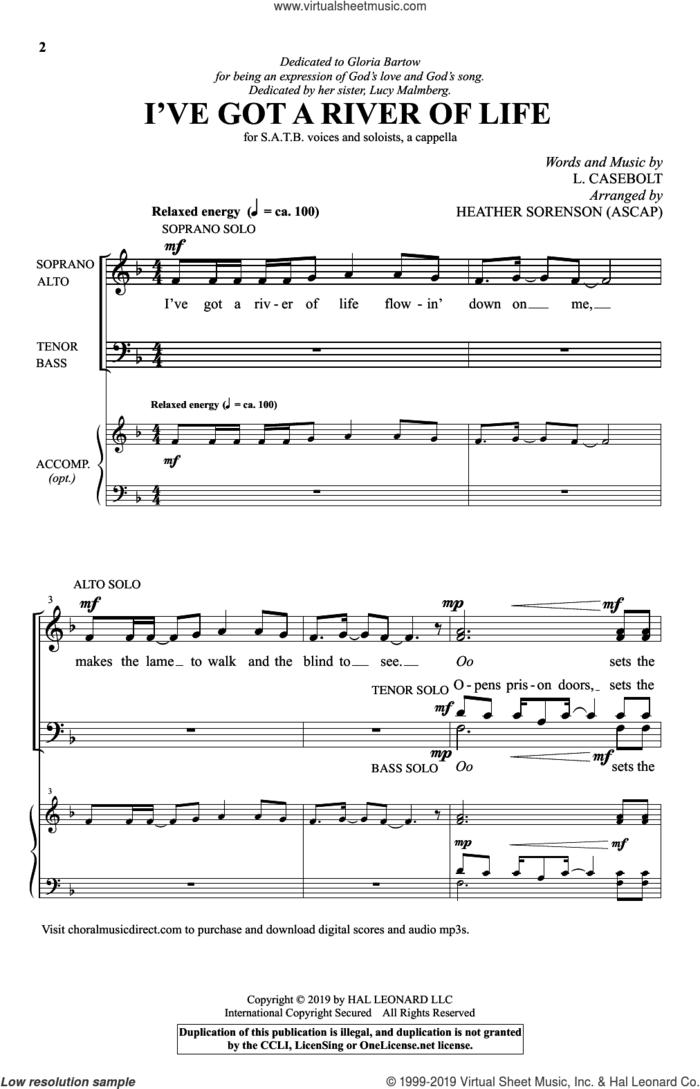 I've Got A River Of Life (arr. Heather Sorenson) sheet music for choir (SATB: soprano, alto, tenor, bass) by L. Casebolt and Heather Sorenson, intermediate skill level