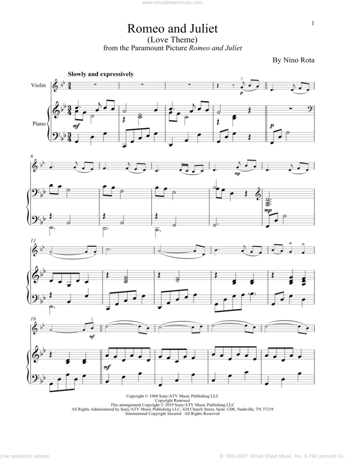 Romeo And Juliet (Love Theme) sheet music for violin and piano by Henry Mancini and Nino Rota, intermediate skill level