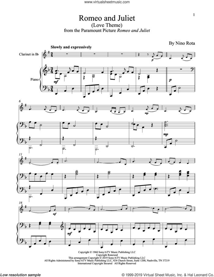 Romeo And Juliet (Love Theme) sheet music for clarinet and piano by Henry Mancini and Nino Rota, intermediate skill level
