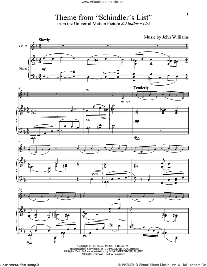 Theme From 'Schindler's List' sheet music for violin and piano by John Williams, intermediate skill level