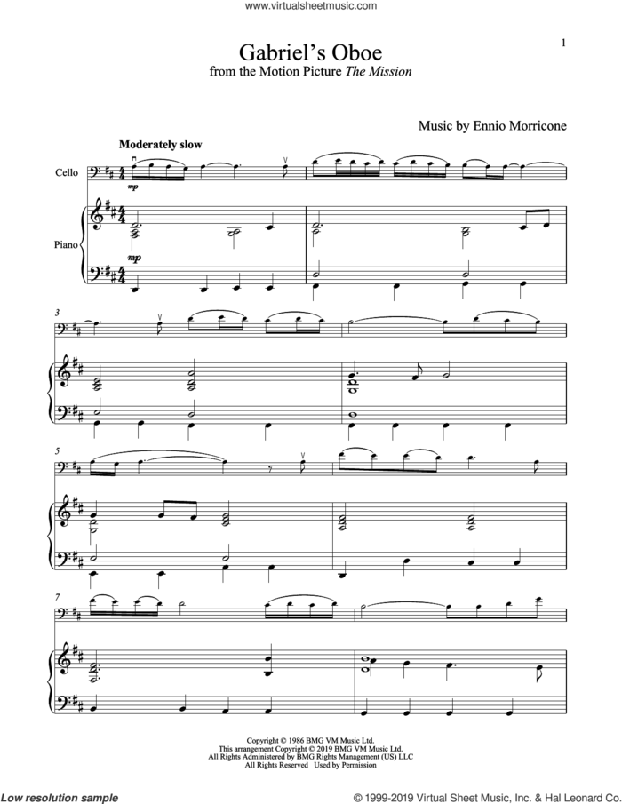Gabriel's Oboe (from The Mission) sheet music for cello and piano by Ennio Morricone, wedding score, intermediate skill level