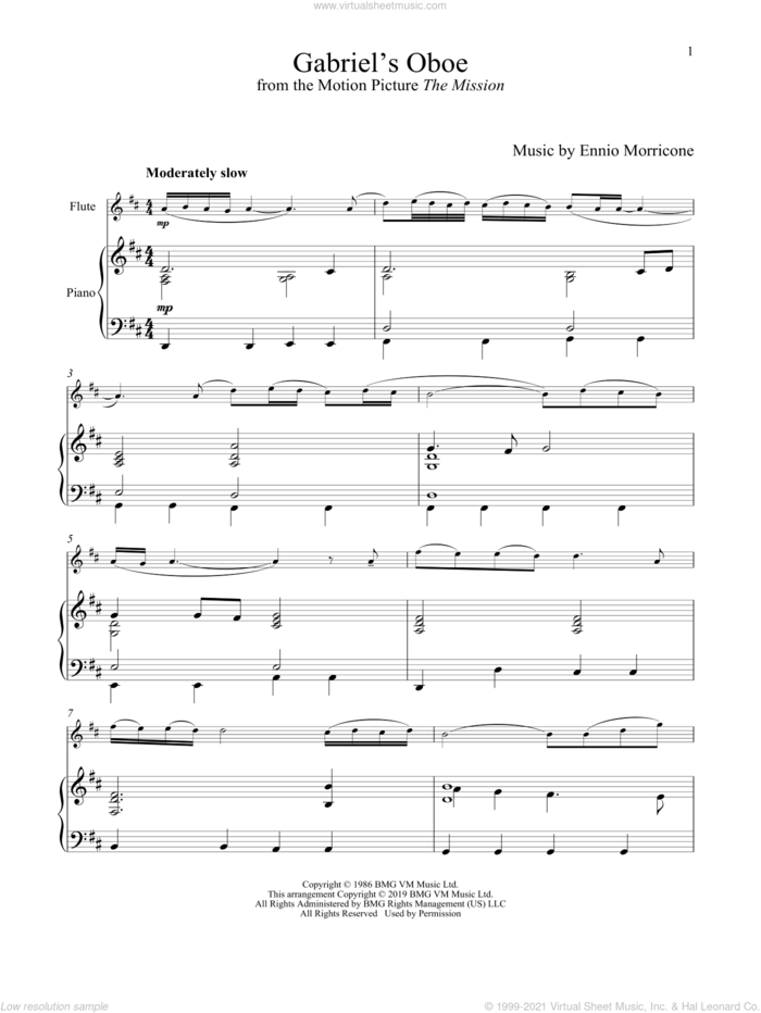 Gabriel's Oboe (from The Mission) sheet music for flute and piano by Ennio Morricone, wedding score, intermediate skill level