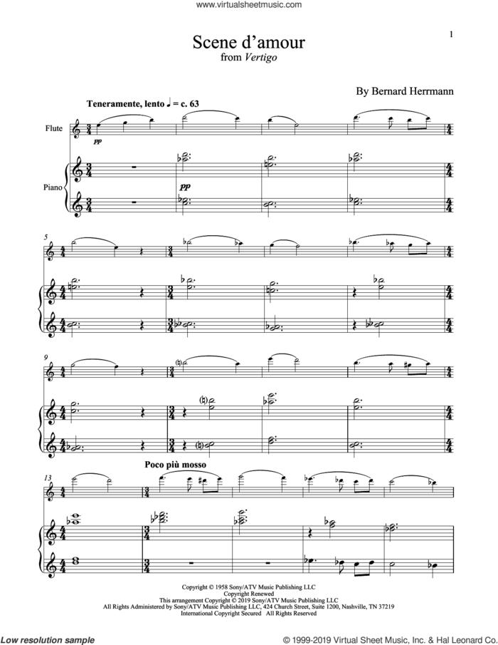 Scene D'Amour (from Vertigo) sheet music for flute and piano by Bernard Hermann, intermediate skill level