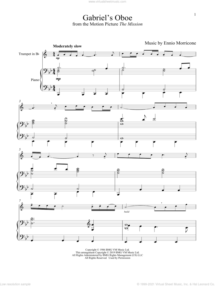 Gabriel's Oboe (from The Mission) sheet music for trumpet and piano by Ennio Morricone, wedding score, intermediate skill level