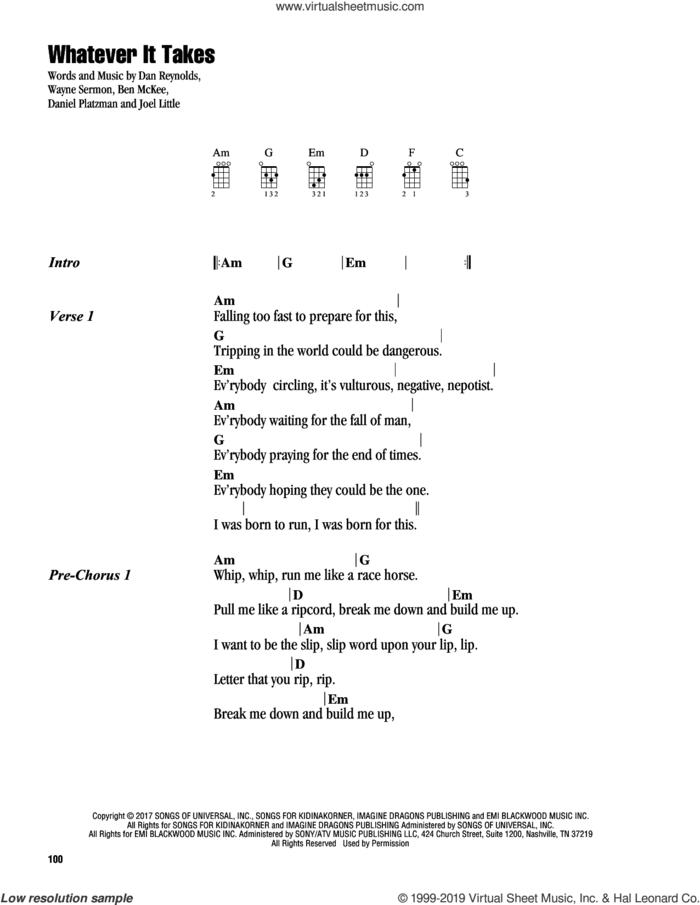Whatever It Takes sheet music for ukulele (chords) by Imagine Dragons, Ben McKee, Dan Reynolds, Daniel Platzman, Joel Little and Wayne Sermon, intermediate skill level