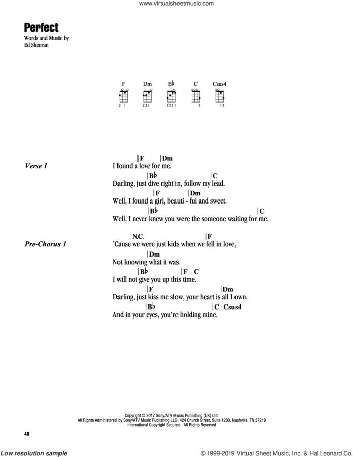 Perfect sheet music for ukulele (chords) by Ed Sheeran, intermediate skill level