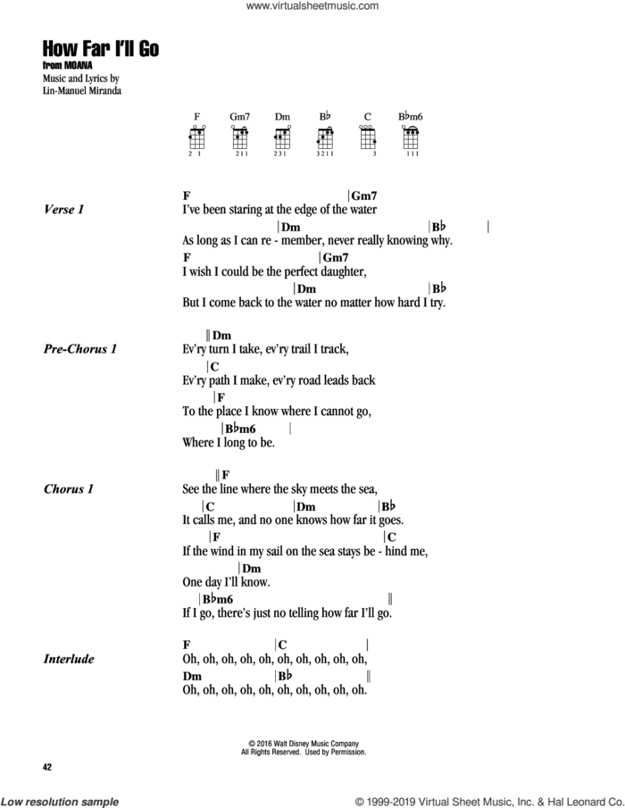 How Far I'll Go (from Moana) sheet music for ukulele (chords) by Alessia Cara and Lin-Manuel Miranda, intermediate skill level