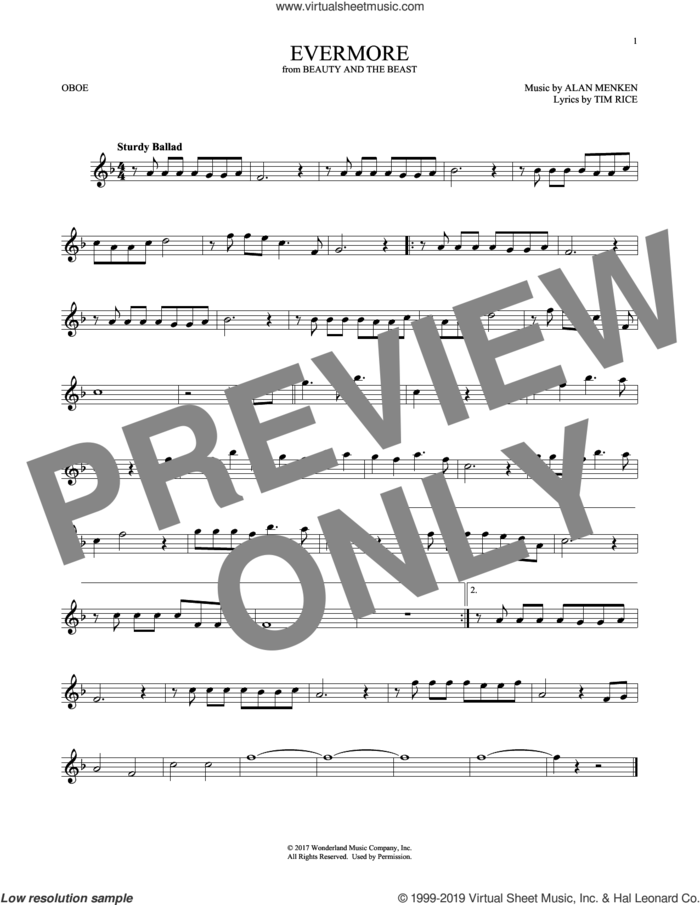 Evermore (from Beauty and The Beast) sheet music for oboe solo by Alan Menken and Tim Rice, intermediate skill level