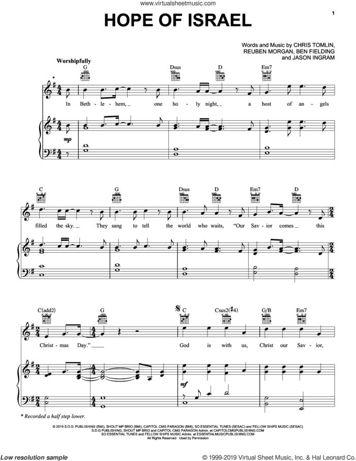 Hope Of Israel sheet music for voice, piano or guitar by Chris Tomlin, Ben Fielding, Jason Ingram and Reuben Morgan, intermediate skill level