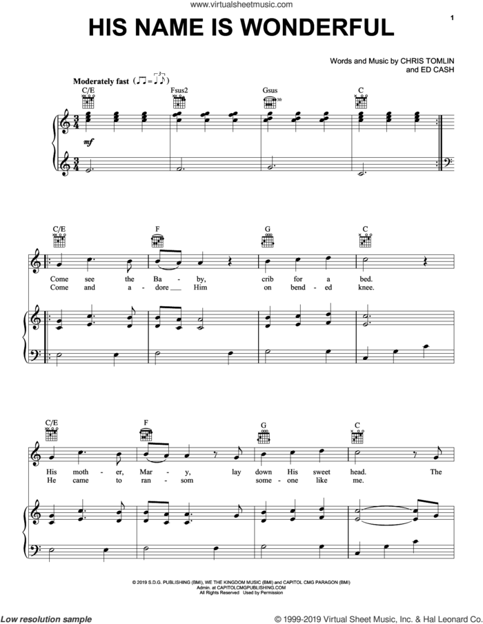 His Name Is Wonderful sheet music for voice, piano or guitar by Chris Tomlin and Ed Cash, intermediate skill level