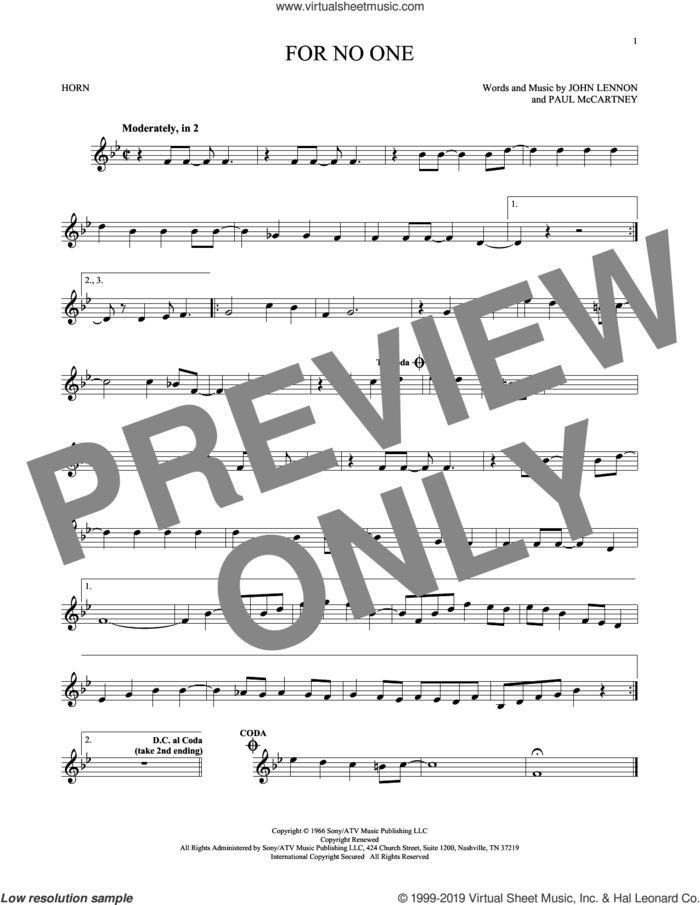For No One sheet music for horn solo by The Beatles, John Lennon and Paul McCartney, intermediate skill level