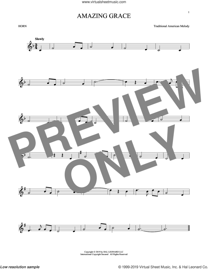 Amazing Grace sheet music for horn solo by John Newton, Edwin O. Excell and Miscellaneous, intermediate skill level