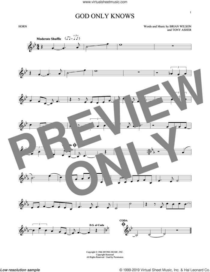 God Only Knows sheet music for horn solo by The Beach Boys, Brian Wilson and Tony Asher, intermediate skill level