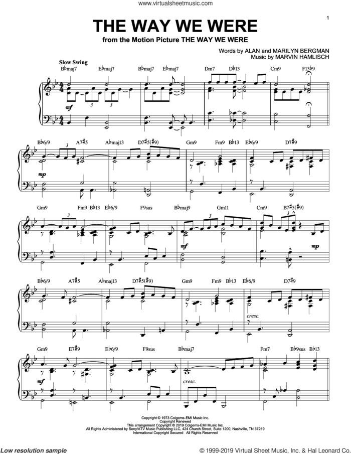 The Way We Were [Jazz version] sheet music for piano solo by Barbra Streisand, Alan Bergman, Marilyn Bergman and Marvin Hamlisch, intermediate skill level